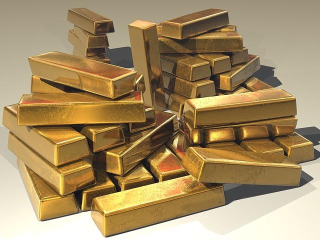 Goldbarren verstreut  Geldschrank